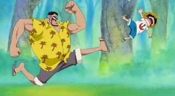 Entrenamiento de Luffy cuando era pequeño