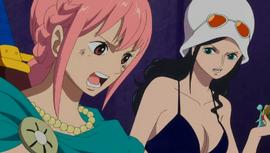 Rebecca habla con Luffy por Den Den Mushi