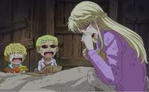 Rosinante y Doflamingo con su madre