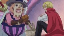 Бобин берёт мясо из корзины Санджи