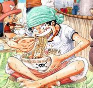 Rozdział 287 Luffy w akwamarynowej chostce na głowie i białej koszulce zajada ramen