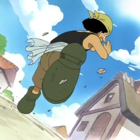 Usopp rennt durch das Dorf und ruft dass sein Vater kommt.