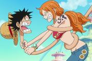 Nami étrangle Luffy