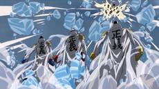 Luffy ataca a los almirantes