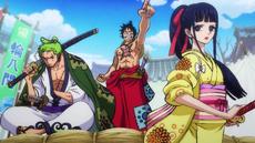Luffy, Zoro y Kiku preparados para luchar
