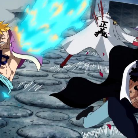 Marco utilizza gli artigli per colpire Akainu insieme a Vista