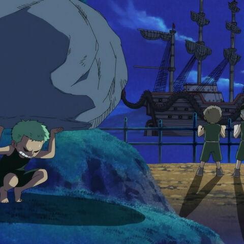 Zoro trainiert lieber, als sich das große Schiff anzuschauen.
