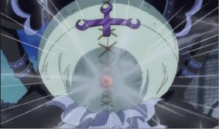 Luffy golpeando a Moriah