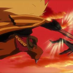 Kinjishi schlägt Zoro in den Boden.