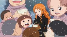 Nami y los niños en la fiesta de Punk Hazard