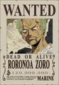 Roronoa Zoro Avis de Recherche Post Enies Lobby