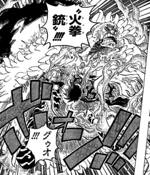 Doflamingo recibiendo un Red Hawk