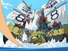 Luffy destruye un buque de la marina