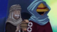 Toto le entrega agua a Luffy