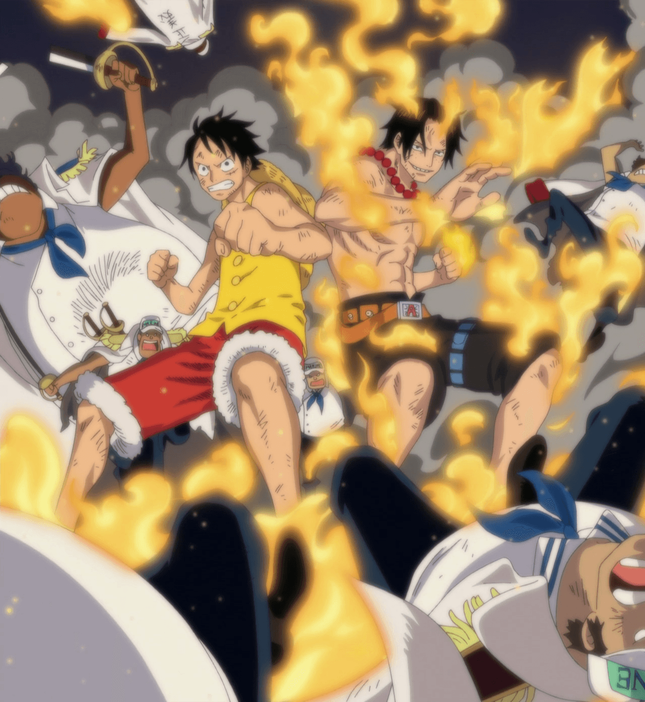 Ace And Luffy Fighting Against Marine Officers: Ace And Luffy Fighting Against Marine Officers.png