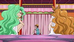 Boa Sandersonia And Boa Marigold Talking With Luffy