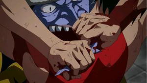 Luffy torciendo la nariz de Arlong
