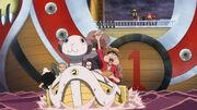 Luffy, Robin, Zoro und Usopp brechen mit der Mini Merry 2 auf
