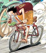 Rozdział 274 Luffy w czerwonej bluzce i pomarańczowych spodenkach ściga się na rowerze z powozem