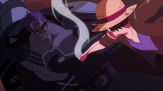 Luffy vs. Zephyr en la isla Secon