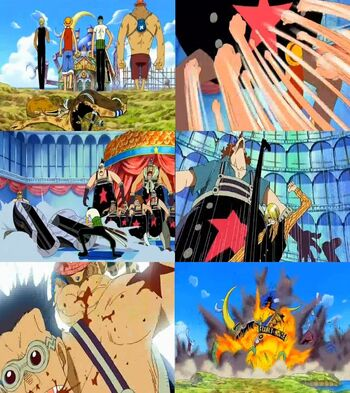 Monkey D. Luffy, Roronoa Zoro, Sanji y Tony Tony Chopper vs. Franky Family
