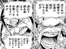 Sakazuki discutiendo con Issho