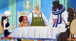 Grupo de Law en un café