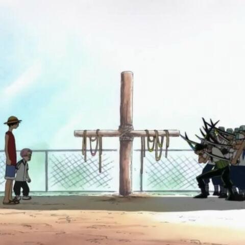 Zoro schwört Luffy die Treue.