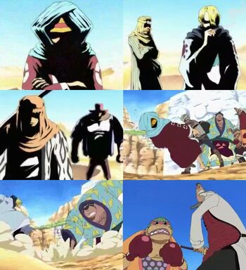 Luffy, Zoro, Usopp, Sanji y Chopper vs. Rebeldes de Kamyu