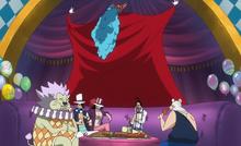 Buggy y su tripulación en una fiesta