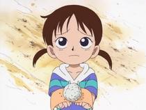 Rika holding onigiri
