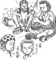 Boceto de Woonan y Ganzo de jovenes