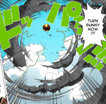 Luffy destroys storm sphere