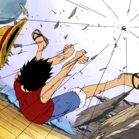 Luffy schießt Wapol von der Going Merry.