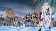 Akainu contra Crocodile y los Piratas de Barbablanca