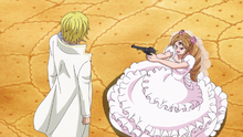 Pudding confronta a Sanji