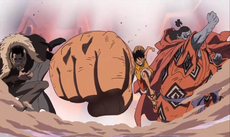 Crocodile Luffy and Jinbe in Impel Down