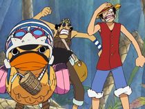 Luffy, Usopp, and Carue Charge In