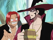 Shanks Convinces Mihawk to Celebrate