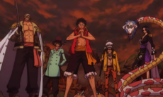Luffy, Law, Smoker, Sabo y Hancock unidos