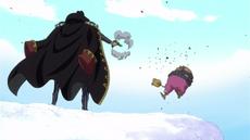 Bege dispara a Pekoms y lo lanza por un acantilado