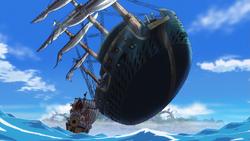 Fujitora lévite un navire de guerre