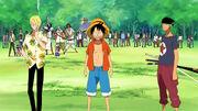 Luffy, Zoro, Sanji und die Bewohner von Little East Blue