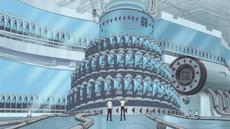 Yonji le enseña a Sanji la fábrica de clones