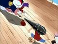 Alvida golpea a Luffy