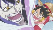 Luffy Grabs Caesar Clown