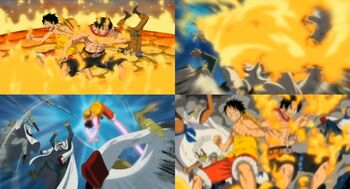Monkey D. Luffy y Portgas D. Ace vs. Marines Oficiales