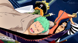 Zoro, Brook y Kinemon vs Marines G-5