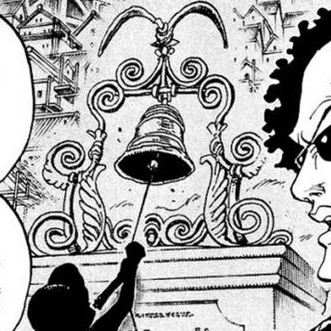 Rufy suona la campana nel manga