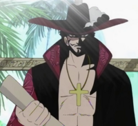 Mihawk with Luffy's Bounty Poster